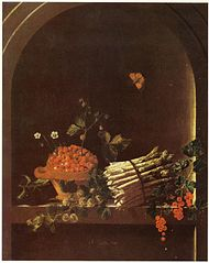 Still life with asparagus, a spray of gooseberries, a bowl of strawberries and other fruit in a niche