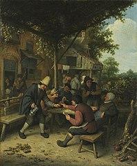 Peasants playing cards at an inn