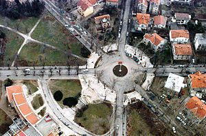 Croatian Republic of Herzeg-Bosnia - Aerial photograph of a square in Mostar after the war, where the Government of Herzeg-Bosnia was located