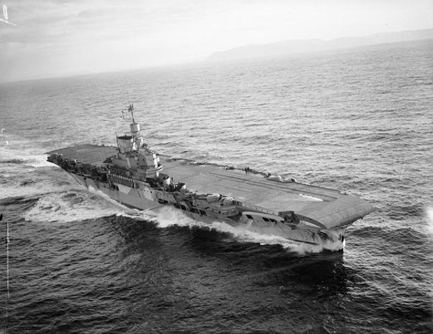HMS Victorious (R38), a British Illustrious-class aircraft carrier