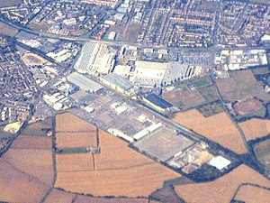 Plant Oxford - Aerial view of Plant Oxford (large white buildings)