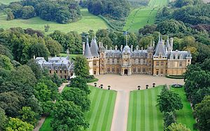 Waddesdon Manor - Aerial view of Waddesdon from the north