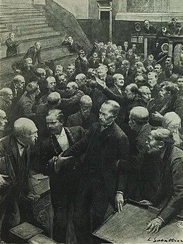 Desenho monocromático de uma multidão de homens no centro de uma sala.