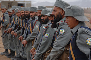 Afghan National Police (ANP) recruits listen t...