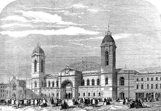 Islington - 1861 Royal Agricultural Hall, view from Liverpool Road. Now the rear entrance to the Business Design Centre