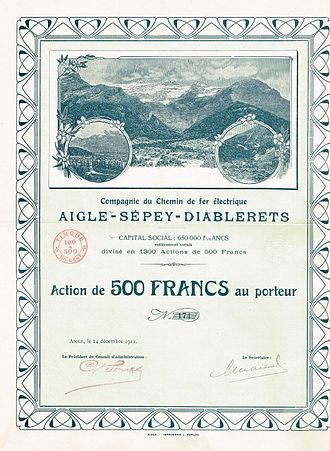 Aigle–Sépey–Diablerets railway - Share of the CdF Aigle-Sépey-Diablerets, issued 24. December 1911