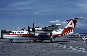 Air BC - A DHC-7 Dash 7 aircraft in 1983 at Vancouver International Airport (YVR)
