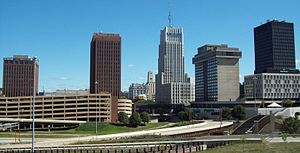 Akron metropolitan area - View of the Akron skyline from the west looking east