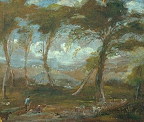 Landscape with trees and a man in a blue shirt