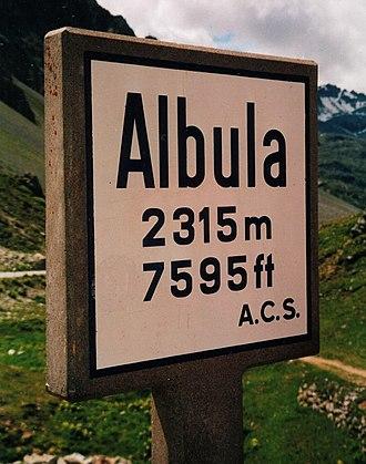 "Albula Pass - Road sign ""Albula 2315 m, 7595 ft, A.C.S."""