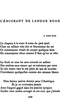 L'Émigrant de Landor Road cover