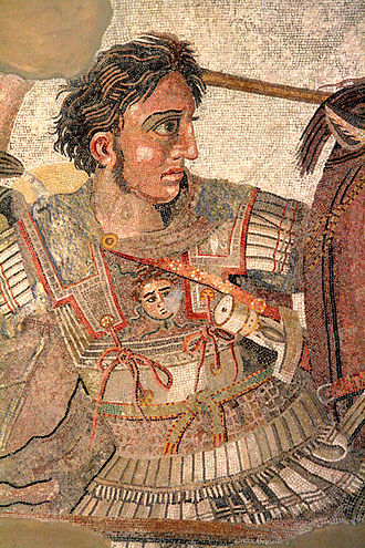 Pteruges - Alexander the Great in battle. Pteruges of leather or stiffened linen are depicted at the shoulders and hips, emerging from beneath his cuirass. Detail of the Alexander Mosaic (A Roman copy of a Hellenistic painting).