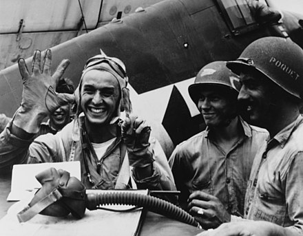 Lt. Alexander Vraciu downed six Japanese dive bombers in a single mission, June 19, 1944. Alexander Vraciu June 1944 80-G-236841.jpeg
