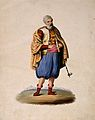An Ottoman nobleman stands smoking a long-stemmed pipe. Wate Wellcome V0019261.jpg