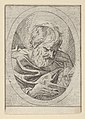 An apostle resting his head on his left hand and reading a book, in an oval frame, from Christ, the Virgin, and Thirteen Apostles MET DP837882.jpg