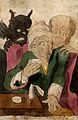 An old man drinks from a cup while a devil and a skeleton st Wellcome V0050187.jpg