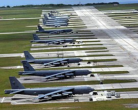 Deployed B-52s from Barksdale AFB, Louisiana with KC-135's in the background