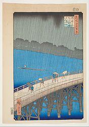 Utagawa Hiroshige: El puente Ōhashi en Atake bajo una lluvia repentina