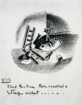 Animal Farm - Squealer sprawls at the foot of the end wall of the big barn where the Seven Commandments were written (ch. viii) – preliminary artwork for a 1950 strip cartoon by Norman Pett and Donald Freeman