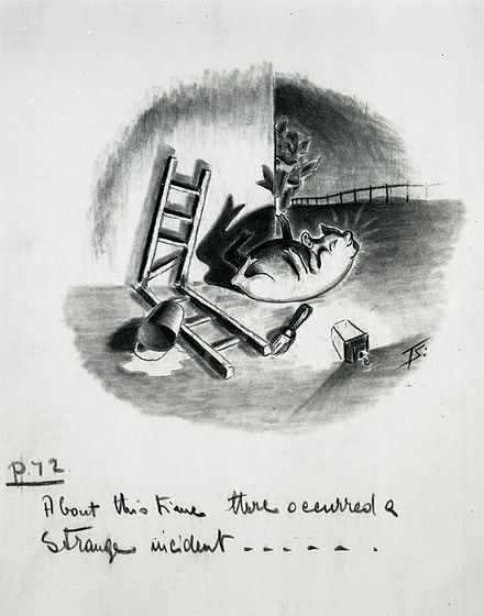 Squealer sprawls at the foot of the end wall of the big barn where the Seven Commandments were written (ch. viii) - preliminary artwork for a 1950 strip cartoon by Norman Pett and Donald Freeman Animal Farm artwork.jpg