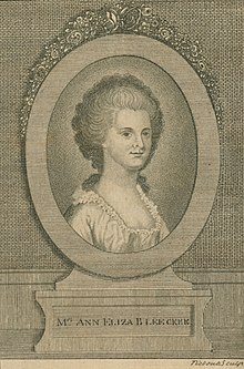 Engraving from frontispiece of Posthumous Works, published 1793 by her daughter Margaretta V. Fuageres