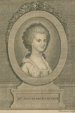 Ann Eliza Bleecker - Engraving from frontispiece of Posthumous Works, published 1793 by her daughter Margaretta V. Fuageres