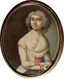 Haydn's wife. Unauthenticated miniature attributed to Ludwig Guttenbrunn (Source: Wikimedia)