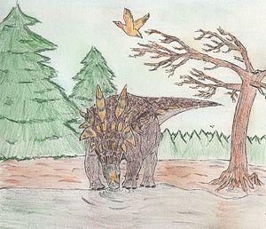 Vegavis - Antarctopelta oliveroi and a bird like Vegavis iaai