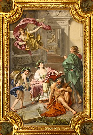 1772 in art - Image: Anton Raphael Mengs, The Triumph of History over Time (Allegory of the Museum Clementinum), ceiling fresco in the Camera dei Papiri, Vatican Library, 1772 M0tty
