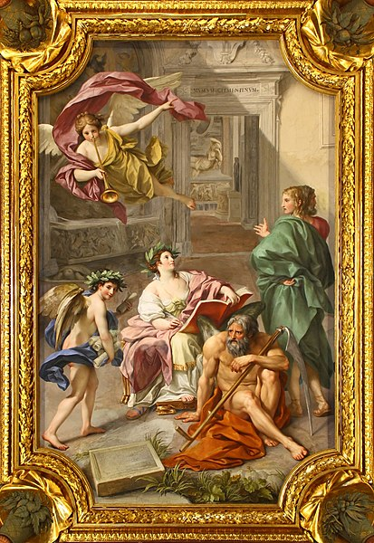 Fitxategi:Anton Raphael Mengs, The Triumph of History over Time (Allegory of the Museum Clementinum), ceiling fresco in the Camera dei Papiri, Vatican Library, 1772 - M0tty.jpg
