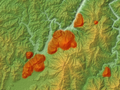 Aonoyama Volcano Group Relief Map, SRTM-1 (marked).png