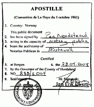 Apostille Convention - An apostille issued by Norwegian authorities.