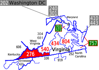 Area code 276 - The area colored red indicates the southwestern region of Virginia served by area code 276