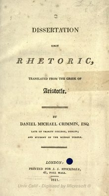 Aristotle - Rhetoric, translator Crimmin, 1811.djvu
