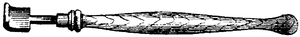 Cross-hatched illustration of a polishing iron.