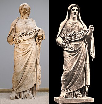 Artemisia II of Caria - Original and reconstitution of the statue traditionally identified as Artemisia, from the Mausoleum at Halicarnassus, now in the British Museum.