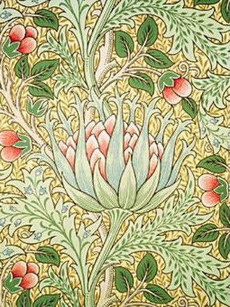 "Decorative arts - Arts and Crafts movement ""Artichoke"" wallpaper by Morris and Co."