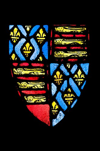 Edward III of England - To mark his claim to the French crown, Edward's coat of arms showed the three lions of England quartered with the fleurs-de-lys of France. English stained glass, c. 1350–1377