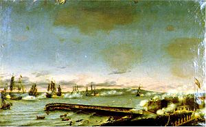 Battle of Santa Cruz de Tenerife (1797) - The British attack on Santa Cruz de Tenerife. Oil on canvas, 1848.
