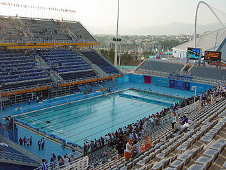 Swimming at the 2004 Summer Olympics - Grandstand view of the swimming pool at the Athens Olympic Aquatic Centre during the 2004 Summer Olympics.