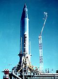 Atlas-B with SCORE on the launch pad; the rocket (without booster engines) constituted the satellite