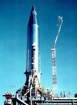 Atlas B before the launch of SCORE (USAF)