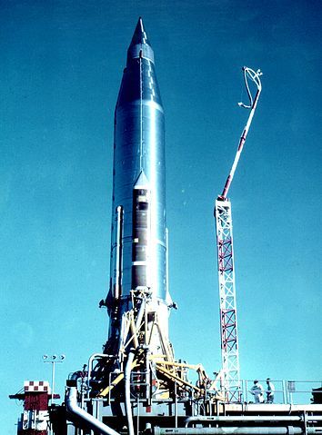 Atlas-B  S/N 10B being prepared to launch the SCORE satellite from Cape Canaveral LC-11; the rocket without booster engines constituted the satellite, USAF photo 354px-Atlas-B_with_Score_payload.jpg