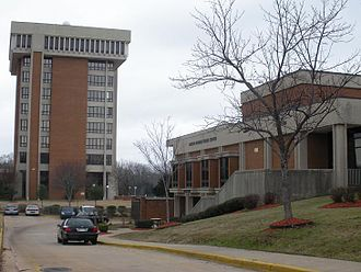 Auburn University at Montgomery - Ida Belle Young Library Tower (left) and Taylor Center (right)