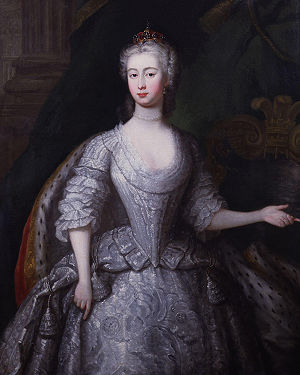 Princess Augusta of Saxe-Gotha - Portrait by Charles Philips, upon the occasion of her marriage