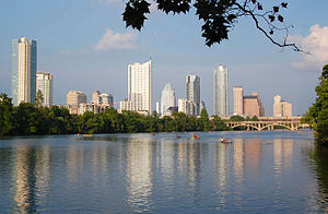 Lady Bird Lake - View from Lady Bird Lake toward Downtown Austin.