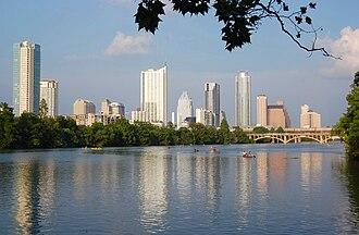 Lady Bird Lake - View from Lady Bird Lake toward Downtown Austin.