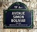 Avenue Simon-Bolivar (Paris) - plaque.JPG