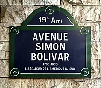 Avenue Simon-Bolivar (Paris) - plaque.JPG