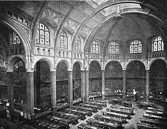 Birmingham Central Library - The tall clerestoried reading room of the 1882 library.